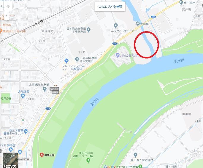 愛知県豊田市川端公園駐車場付近の河原